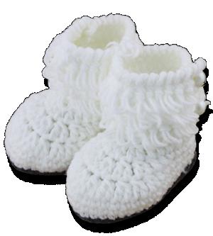 Βρεφικά πλεκτά μποτάκια αγκαλιάς λευκά