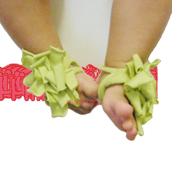 Βρεφικά υφασμάτινα σανδάλια αγκαλιάς λαχανί για μωράκι ως 12 μηνών