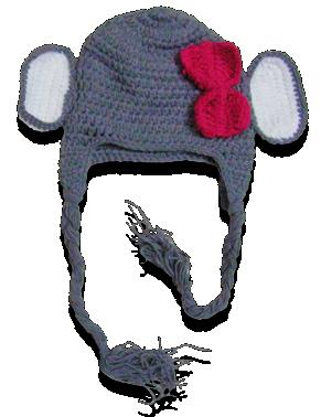 Βρεφικό παιδικό πλεκτό σκουφάκι Ελεφαντίνα