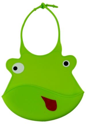 Βρεφική σαλιάρα σιλικόνης πράσινη φατσούλα