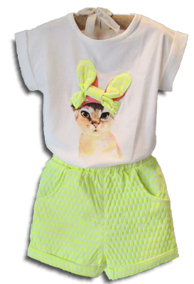 Βρεφικό παιδικό σετ μπλουζάκι γατούλα με σορτσάκι