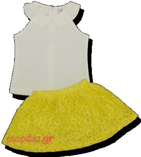 Βρεφικό παιδικό σετ αμάνικο πουκάμισο με φούστα