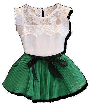 Βρεφικό παιδικό σετάκι φούστα με πιέτες και αραχνούφαντο μπλουζάκι