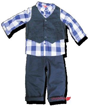 Σετ βρεφικό παιδικό πουκάμισο γιλέκο παντελόνι