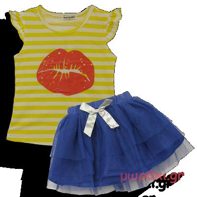 Βρεφικό παιδικό σετάκι αμάνικο με φούστα