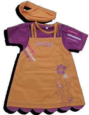 Βρεφικό παιδικό σετ πορτοκαλί φόρεμα με μοβ μπλουζάκι