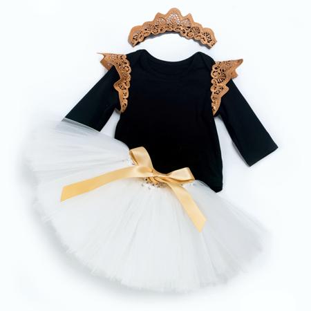 Βρεφικό πριγκιπικό φορμάκι μαύρο με χρυσή δαντέλα στο πέτο, σετ με λευκή τούλινη φουστίτσα και δαντελένιο χρυσό στέμμα