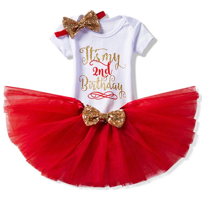 Βρεφικό φορμάκι 2st Birthday με κόκκινο τούλινο φουστάκι και κορδέλα
