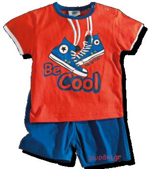 Βαμβακερό σετάκι για αγοράκια από κοραλί μπλουζάκι Be Cool και μπλε σορτσάκι