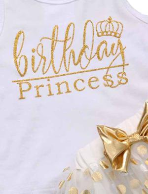Σετ βρεφικό παιδικό Birthday Princess λευκό χρυσό