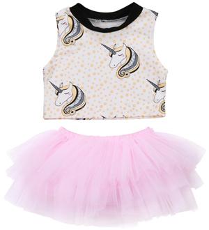 Βρεφικό σετ μονόκερος μπλουζάκι με τούλινη ροζ φούστα