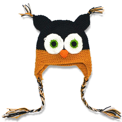 Σκουφάκι βρεφικό παιδικό πλεκτό μαύρο πορτοκαλί