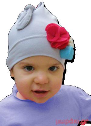 Βρεφικό παιδικό σκουφάκι γκρι με φελτ λουλούδια