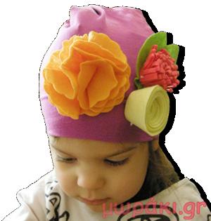 Βρεφικό παιδικό σκουφάκι μοβ με φελτ λουλούδια
