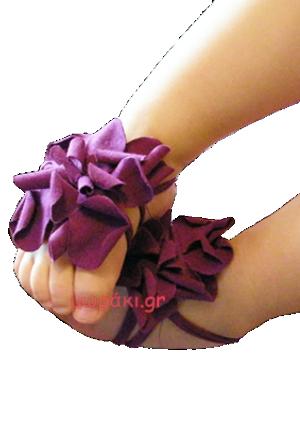 Σανδάλια αγκαλιάς με υφασμάτινα μοβ λουλούδια για μωράκια ως 12 μηνών.