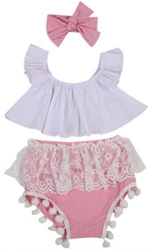 Σετ βρεφικό ροζ σορτσάκι boho με λευκό τοπ και κορδέλα μαλλιών