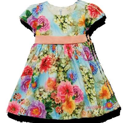 Βρεφικό παιδικό φόρεμα φλοράλ σατέν