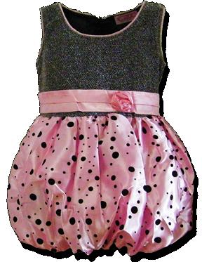 Βρεφικό παιδικό φόρεμα ballon ροζ ασημί