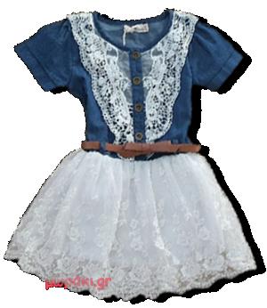 Βρεφικό παιδικό φόρεμα τζιν με δαντέλα