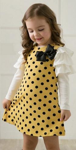 Βρεφικό παιδικό φόρεμα κίτρινο λευκό μαύρο πουά