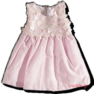 Βρεφικό φόρεμα ροζ με λουλούδια Ελληνικής κατασκευής