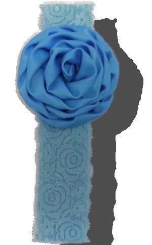 Βρεφική κορδέλα δαντέλα γαλάζια με σατέν λουλούδι