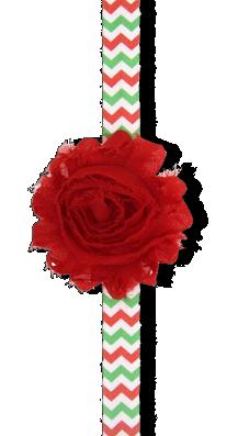 Βρεφική κορδέλα μαλλιών με κόκκινο σιφόν λουλούδι