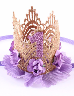 Κορδέλα μαλλιών στέμμα πρώτα γενέθλια μοβ