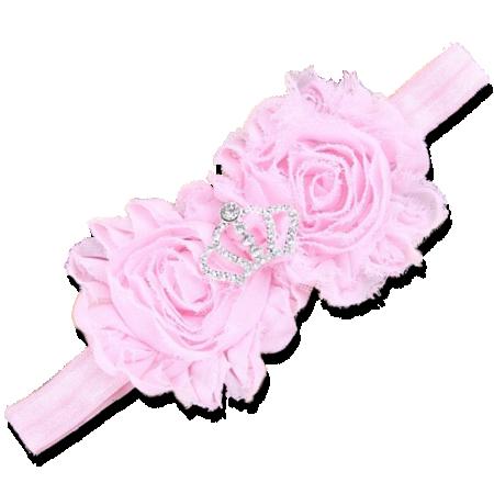 Βρεφική κορδέλα μαλλιών ροζ με στέμμα