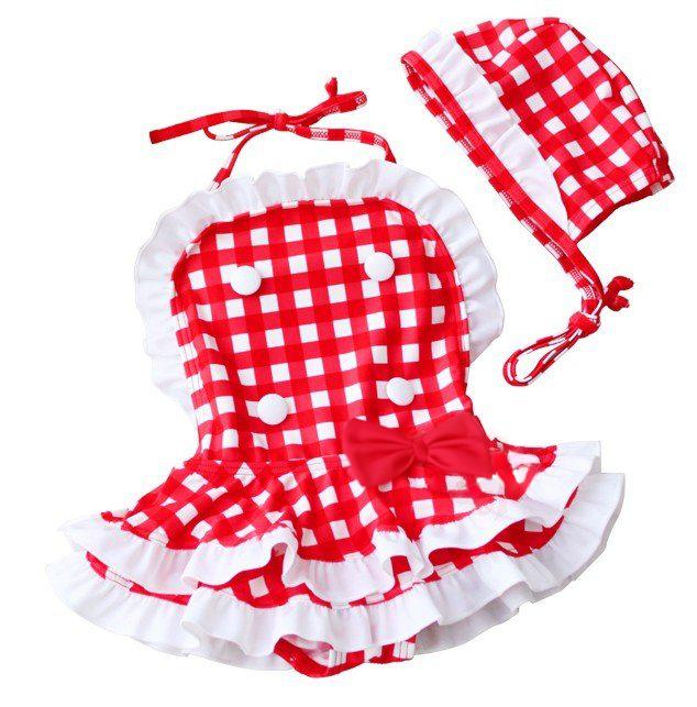 Βρεφικό παιδικό ολόσωμο μαγιό λευκό κόκκινο