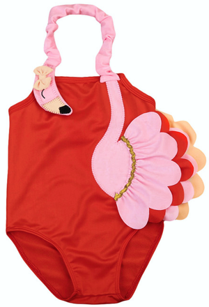 Βρεφικό παιδικό μαγιό φλαμίνγκο πορτοκαλί ροζ