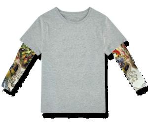 Βρεφικό  παιδικό μπλουζάκι γκρι μανίκια tattoo