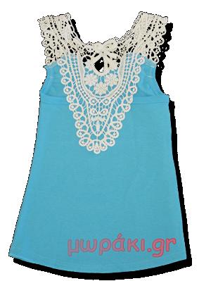 Βρεφικό παιδικό μπλουζάκι με δαντέλα γαλάζιο