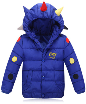 Παιδικό μπουφάν μπλε με κουκούλα με πολύχρωμους κώνους