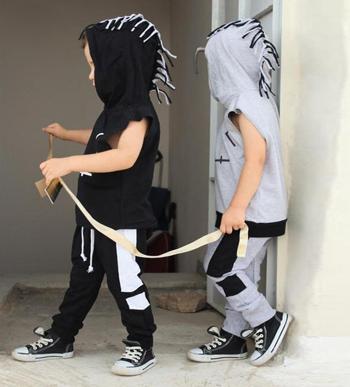 Βρεφική παιδική φόρμα μαύρη και γκρι