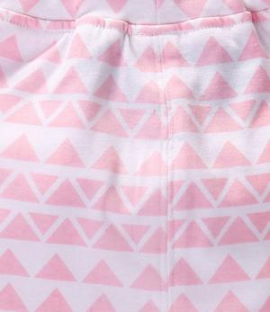 Βρεφικό παντελόνι ροζ λευκό με ροζ φιόγκο