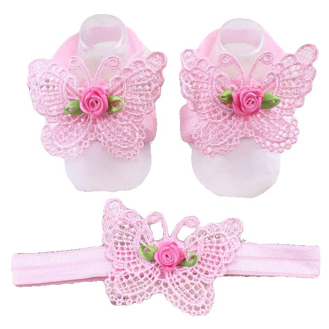 Σανδάλια αγκαλιάς ροζ δαντέλα πεταλούδα