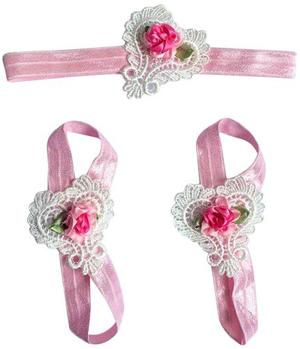 Σανδάλια αγκαλιάς ροζ λευκή δαντέλα καρδιά σετ με κορδέλα