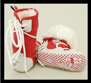 Βρεφικά μποτάκια κόκκινα με γούνινη επένδυση
