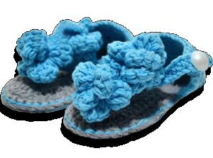 Πλεκτά βρεφικά σανδάλια γαλάζιο γκρι