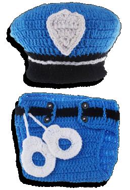 Βρεφικό πλεκτό σετ φωτογράφισης Αστυνομικός