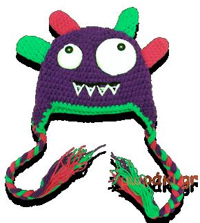 Βρεφικό παιδικό πλεκτό σκουφάκι μοβ τερατάκι