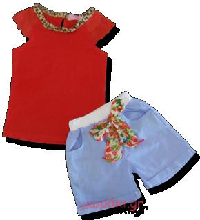 Βρεφικό παιδικό σετ αμάνικο με δαντέλα και σορτσάκι