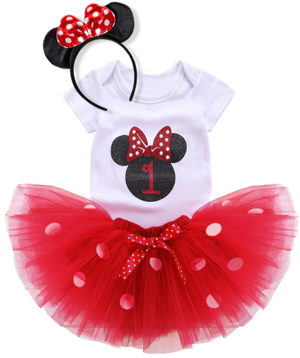 Σετ γενεθλίων κόκκινο Μίνι Μάους 1 έτους φούστα, φορμάκι και στέκα μαλλιών