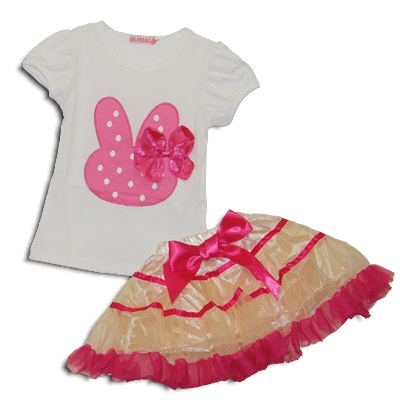 Βρεφικό παιδικό σετ μπλουζάκι κουνελάκι με φούστα