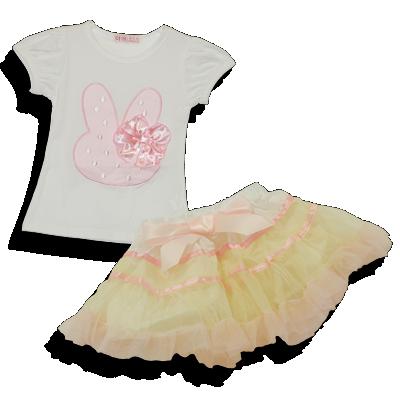 Βρεφικό παιδικό σετ μπλούζα κουνελάκι ροζ με φούστα