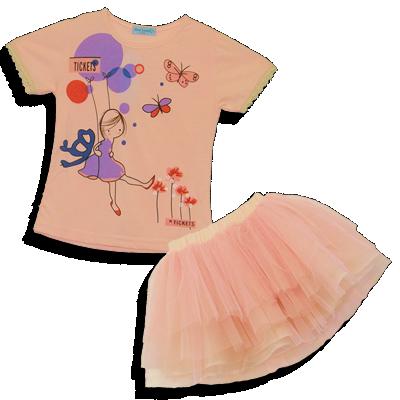 Βρεφικό παιδικό σετ ροζ μπλουζάκι με τούλινη φούστα