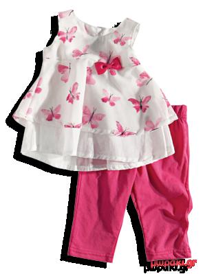 Βρεφικό παιδικό σετ αμάνικο με πεταλούδες και κολάν