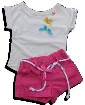 Βρεφικό παιδικό σετ εκρού μπλουζάκι με ροζ σορτς